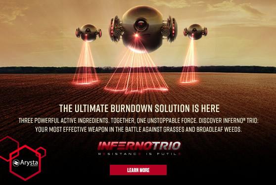 <center>New Inferno Trio Herbicide offers unprecedented burndown weed control in wheat.</center>