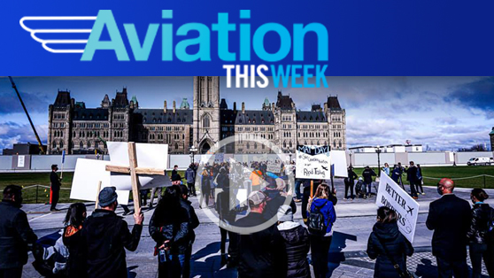 Aviation workers rally at Parliament Hill for action
